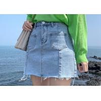 100% Cotton Ladies Denim Jeans Light Blue Wash With Patch Pocket And Raw Hem Finish Manufactures