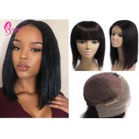 China Black Style African American Short Lace Front Wigs With Bangs Straight Texture on sale
