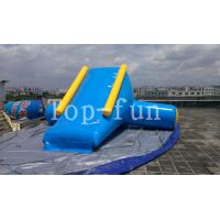 U / V Shape 0.9mm PVC Tarpaulin Inflatable Big Air Slide For Water Yelow / Blue Manufactures