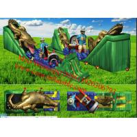 Quality Inflatable Awesome Jungle Themed Obstacle Course With Walls, Tunnels and Slides for sale
