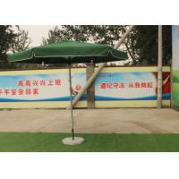 Green Large Square Umbrella With 50 Kg Marble Base , Square Steel Tube Frame Manufactures