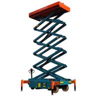 12 meters height mobile hydraulic scissor lift with motorized device loading capacity at 450Kg Manufactures
