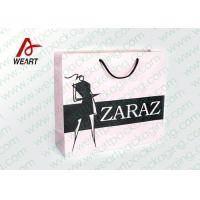 Quality Pretty Custom Paper Shopping Bags With LOGO And Black PP Rope for sale