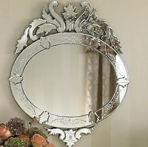 Crown Design Hanging Venetian Wall Mirror 55 * 83cm Size Custom Shape / Color Manufactures