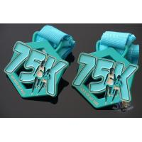 My Race 75K Marathon Custom Metal Sports Medals, Spray Pontan Colors And With Printing Ribbon Manufactures