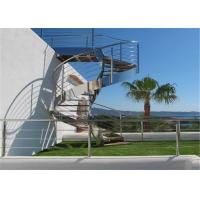 Stainless Steel Metal Spiral Staircase , Curved Basement Stairs Customized Size Manufactures