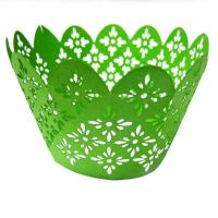 Green Personalized Laser Cut Decorative Cupcake Wrappers holders for decorating Manufactures