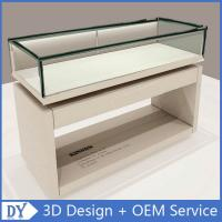 Quality Nice Standard Size Matte White Wooden Glass Display Plinth With Led Strip Lights for sale