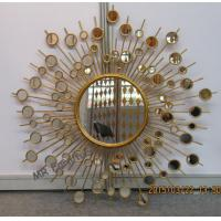 Round Metal Mirror Wall Decor Sunburst Style 37 Inch Diameter Metal Wire Frame Manufactures