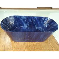 1700mm length ovel acrylic blue marble color freestanding bath tub with center drainer Manufactures