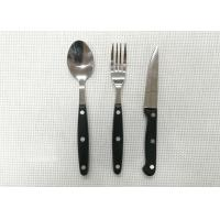 Plastic Handle Stainless Steel Flatware Sets of 3 Pieces Knife Fork and Spoon Length 20cm Manufactures