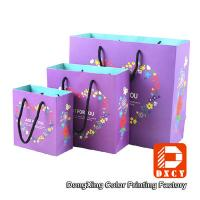 Purple Paper Gift Bags 250 Grams Ivory Board Paper Shopping Bags With Nylon Strings Manufactures