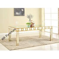 Mirrored Glass Top Rectangle Dining Table , 82 Inch Glass Top Kitchen Table Sets Manufactures