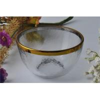 7oz High White Glass Candle Bowl Tealight Holder with Golden Rim Manufactures