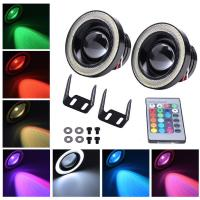 89MM Car 30W LED Fog Lamps colorful DRL Lights with RGB COB Halo Angel Eye Rings Manufactures