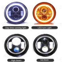 7 Inch Jeep Wrangler Car LED Headlights Angel Eyes Diecast Aluminum Housing Manufactures