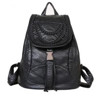 Luxury Fashion Ladies Backpack Rivet Washed Leather With Weave Decoration Manufactures