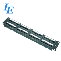 China 19inch 2U UTP  12Port CAT5e And CAT6 Patch Panel With Cable Management on sale