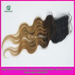 Silk lace closure 3.5''x4'' peruvian virgin hair ombre1b/4#/27# color,body wave