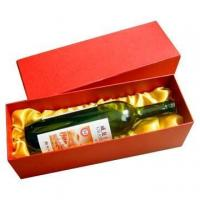 Custmized Recyclable 4 * 14 * 5 Inch Red Folding Paper Packaging Box For Wine Manufactures