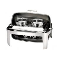 Quality Stainless Steel Rectangular Roll Top Chafing Dish Set With 2 x 4.0Ltr Soup for sale