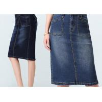 Fashion style regular custom size gored Jeans Elastic Slim Women denim skirt Manufactures