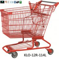 Red Powder Coating Small Metal Shopping Carts For Seniors / Grocery Shopping Trolley Manufactures