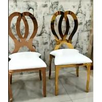 China Gold Stackable Event Wedding Dining Chairs Stainless Steel Metal Frame Accent Chair on sale