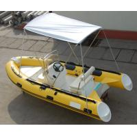 Yellow 14ft Fiberglass RIB Inflatable Rescue Boat With Outboard Motor Manufactures