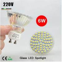 NEW LED Spotlight GU10 lamp 6W AC 220V Heat-resistant Glass Body 3528 SMD 60LEDs White/Warm White LED Bulbs lighting Manufactures