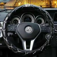 factory offer embroidery hot sell black diamond car steering wheel cover Manufactures