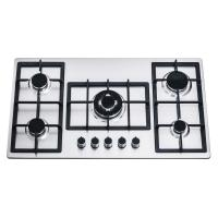 201/304 Stainless Steel 90cm 5 Burner Gas Hob With Cast Iron Pan Support Manufactures