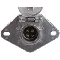 Metal Trailer Electrical Socket , 4 Pin Trailer Connector With Lid Manufactures