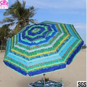 Windproof Sunshade Parasol Beach Umbrella Custom Size 2.4m / 2.5m Manufactures