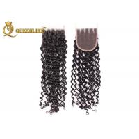 20 inch Kinky Wave Remy 4x4 Lace Closure Human Hair Extensions With Closure Manufactures
