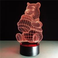 China Chinese Supplier the Pooh Colorful 3D Lights Acrylic LED Night Light Touch Switches on sale