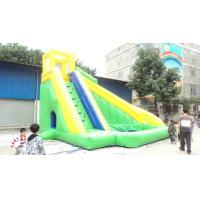 Quality Professional Durable 0.55mm PVC Tarpaulin Inflatable Sports Games Green Slide  for sale