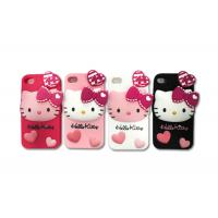 Quality 3D Silicon Cell Phone Protective Cases With Cute Hello Kitty Style For iPhone4 / iPhone5 for sale