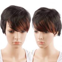Medium Brown Short Human Hair Lace Wigs With Baby Hair Double Drawn 120% Density Manufactures