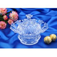 Wedding Gift Glass Candy Bowl With Lid / Glass Storage Jar For Nut Manufactures