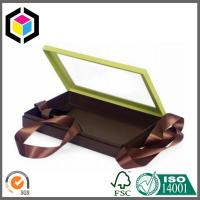 Clear Plastic Window Gift Packaging Box; Black Ribbon Chipboard Paper Gift Box Manufactures