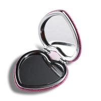 Pink Heart Shaped Double Sided Travel Mirror , Glitter Plastic Compact Mirror Manufactures