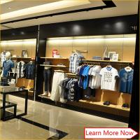 High end men wood clothes clothing display shelf,garment display systems with customized size Manufactures