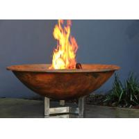 Rusty Finish Corten Steel Fire Bowl , Round Steel Fire Pit Corrosion Stability Manufactures