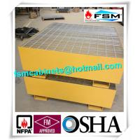 Steel Drum Spill Containment Pallets , Spill Containment Platform Yellow Manufactures
