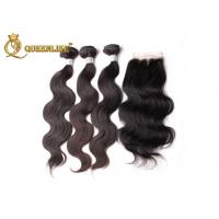 Natural Black Three Part Human Hair Lace Closure With Hair Weaves Manufactures