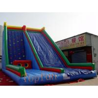 Custom Blue Inflatable Water Slide , Kids Entertainment Climbing Wall Inflatable Toys Slide Manufactures