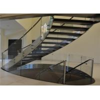 Wood Treada Arc Building Curved Stairs Carbon Steel Stringer Painting Finish Manufactures