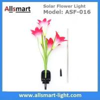 Quality 4LED Articifial Solar LED Lily Flower Stake Light Stem Color Changing Energy Saving LED Lamp for Garden Patio Backyard for sale