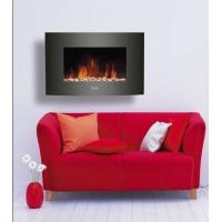 Wall Mounted Electric Fireplace Heater(pebbles Fuel) 35Black Curved Tempered Glass LED FLAME EFFECT ROOM/INDOOR HEATER Manufactures